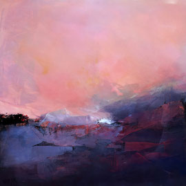 """""""Fin de nuit"""" acrylique sur toile 80 x 80 disponible"""