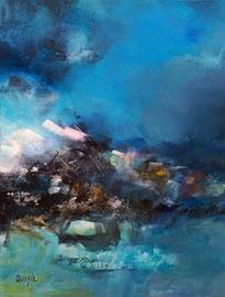 """""""Living blue"""" 1 technique mixte sur toile 65 x 92 VENDUE"""