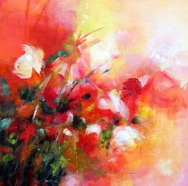 """""""Les flamboyantes"""", acrylique sur toile 100 x 100"""