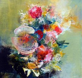 """""""Bloom 04"""" technique mixte sur toile 40 x 40 cm"""