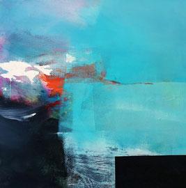 """""""A l'abri du ciel"""" Technique mixte sur toile 50 x 50 cm"""