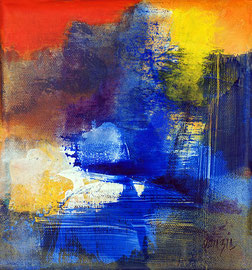 Le bruit de la cascade technique mixte sur toile 20 x 20 épaisseur 4 cm