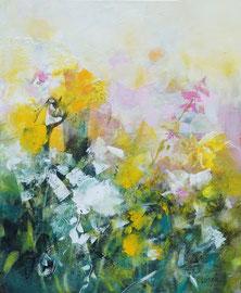 """""""Toujours des fleurs"""" technique mixte sur toile 50 x 61"""