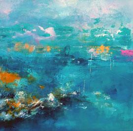 """""""Le ciel posé sur l'eau"""" technique mixte sur toile 60 x 60 cm disponible"""