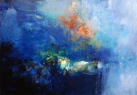 """""""La forêt du lac"""" technique mixte sur toile 100 x 73 VENDU"""