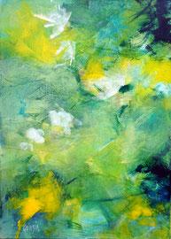 """""""Light green"""" peinture acrylique, papier marouflé sur toile 50 x 70"""