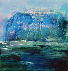 """""""La falaise bleue""""  enduit, acrylique et pigments sur toile 15 x 15"""