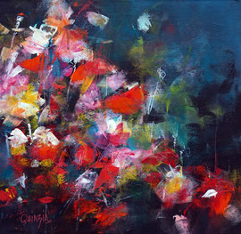 """""""Night in colors"""", technique mixte sur toile 40 x 40 épaisseur 3.5 VENDUE"""