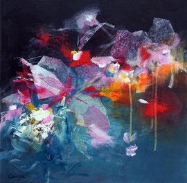 """""""Belles de nuit"""", collage acrylique et pigments sur toile 50 x 50"""