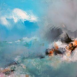 """""""Living blue - 3"""", acrylique et pigments sur toile 80 x 80 disponible"""