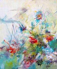 """""""Le vent des papillons"""" technique mixte  sur toile 50 x 60 cm"""