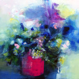 """""""Flowers in a pink pot"""" acrylique et marqueurs sur toile 80 x 80"""
