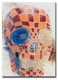 """Thomas Girbl """"Skull Aurum"""" 50x70cm 2014"""