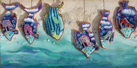 Fish on sail 2013 Oil ,sand and sail on canvas 50 x100 cm Available in Dubai
