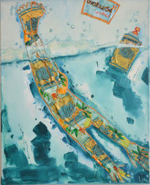 Diving in Eau de Cologne 2012 Oil,paper,gold on Canvas 100x80. AVAILABLE in Dubai
