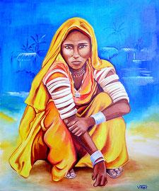 Huile sur toile Inde 61X50