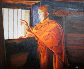 Huile sur toile Birmanie 55X46