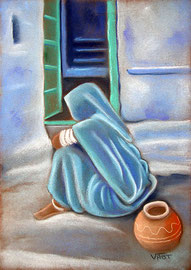 Porte verte    -pastel 24x34- Inde