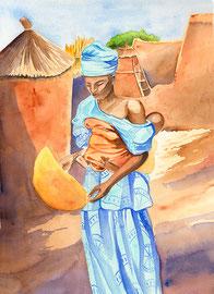 Tiébélé - aquarelle 31X41- village situé en pays Gourounsi au Sud du Burkina-Faso. La concession royale abrite jusqu'à 400 personnes. Les cases sont décorées de motifs en relief peints