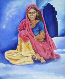 Huile sur toile Inde 55X46