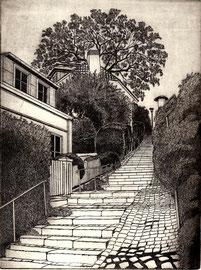 Steiler Weg hangwärts  (15x20)