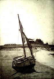 Fischerboot vor Hooge  (15x20)