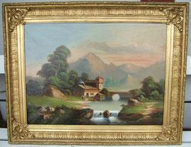 Alpenlandschaft, Zillertal, Öl auf Leinwand, Österreich um 1870/80, 95cm x 74cm