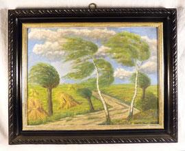 Landstraße bei Barth / Ostsee, B. Schwidetzky, 1911, Öl auf Pappe, 48cm x 38cm