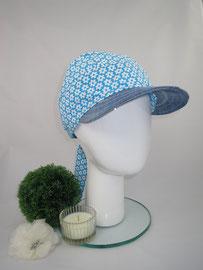 Bandeau türkies, Material reine Baumwolle, am Hinterkopf mittels Knoten auf Kopfgröße eingestellt, Preis: 39,90 €