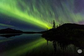 "Bild: aurora borealis over a lake at Denali Highway with the Denali in the background, Alaska, ""aurora of the night""; www.2u-pictureworld.de"