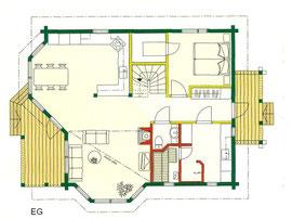 Blockhaus  als Wohnhaus - EG -Grundriss - Hausentwurf - Holzhaus  - Entwurf - Blockhaus in Schleswig Holstein bauen - Langlebiges Wohnblockhaus - Biohaus Neumünster - Ökohaus  Kinderzimmer - Schlafzimmer  - WC  - Diele - Balkon - Terrasse