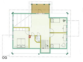 Blockhaus Entwurf - OG Grundriss -  Wohnblockhaus auf zwei Ebenen - Einfamilienhaus - Blockhaus als ökologisches Wohnhaus - Blockhauskauf - Blockhausbau - Blockhausplanung - Blockhaus Bauen