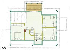 Blockhaus Entwurf - OG Grundriss -  Wohnblockhaus auf zwei Ebenen - Einfamilienhaus - Blockhaus als ökologisches Wohnhaus - Blockhauskauf - Blockhausbau - Blockhausplanung - Blockhaus Bauen - Berlin Brandenburg