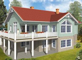 Hanghaus - Blockhaus als Wohnhaus ohne oder mit Wohnkeller - Finnische Blockhäuser in echter massiver Blockhäuser mit hohem Holzanteil - Bauen mit Holz  - Einfamilienhaus mit Wohnkeller am Hang - Bauträger - Immobilie