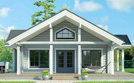 Kleines Holzhaus als Wohnhaus in massiver Blockbauweise - Singlehaus
