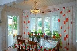 Kuusamo Holzhaus als Wohnhaus - Wohnküche im Blockhaus - Wohnblockhaus - Massivholzhaus