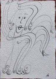Naives Treiben, Tusche auf Papier, 11x15,5cm, 20€