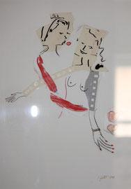 Der Kuss, Collage auf Papier, 180 €
