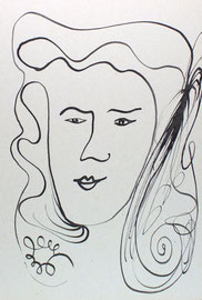 Zufrieden, Tusche auf Papier, 21x29,5 cm, 130 €