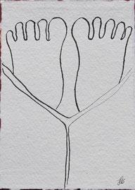 Sonntag Morgen, Tusche auf Papier, 11x15,5cm, 20€