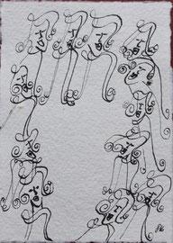 Ringelreigen, Tusche auf Papier, 11x15,5cm, 20€