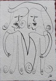 Duett, Tusche auf Papier, 11x15,5cm, 20€