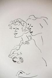 Im Nacken, Tusche auf Papier, 21x30 cm, 60 €