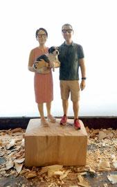 Auftragsarbeit - Paar Skulptur mit Hund