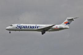 Als Spanair im Endanflug auf Madrid.