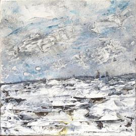 Wintertag - Acryl-Mischtechnik auf Leinwand in weißem Schattenfugenrahmen - 30 x 30cm- 2017