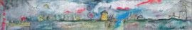 Traumlandschaft- Acryl/Collage-Mischtechnik auf Leinwand -60x10xcm - 2018 -verkauft-
