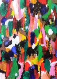 Abstract Worlds 010220  Acryl und Tusche in 90x50 auf Pressplatte