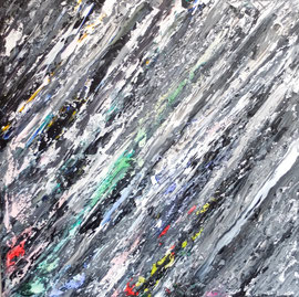 Abstract World o.T. 06 2018  Acryl und Tusche auf LW in 100x100