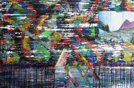 Abstract Worlds 050120 Acryl und Tusche auf LW in 80x100